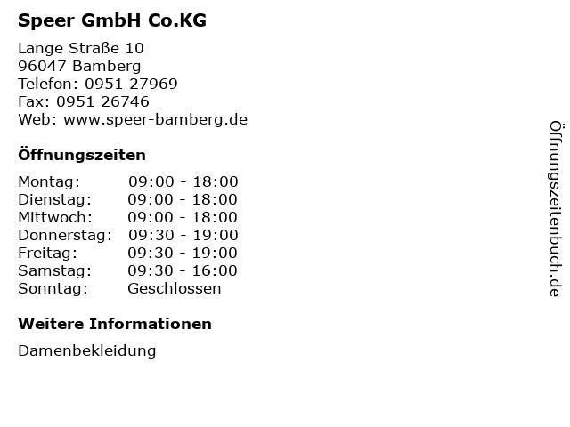 Speer GmbH Co.KG in Bamberg: Adresse und Öffnungszeiten