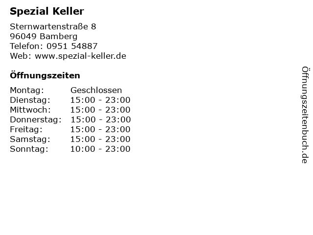 ᐅ öffnungszeiten Spezial Keller Sternwartenstraße 8 In Bamberg