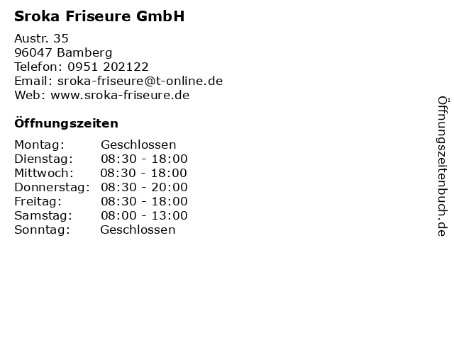 "ᐅ Öffnungszeiten ""sroka friseure"" | austraße 35 in bamberg"