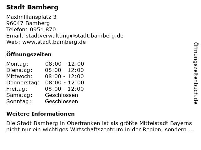 Stadtverwaltung Bamberg in Bamberg: Adresse und Öffnungszeiten