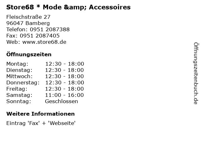 Store68 * Mode & Accessoires in Bamberg: Adresse und Öffnungszeiten