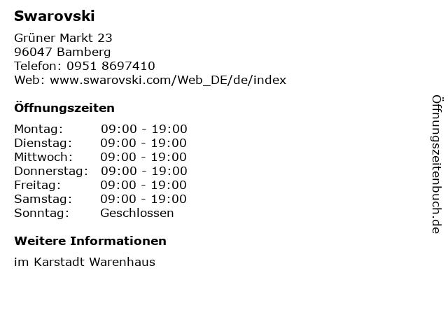 Swarovski in Bamberg: Adresse und Öffnungszeiten