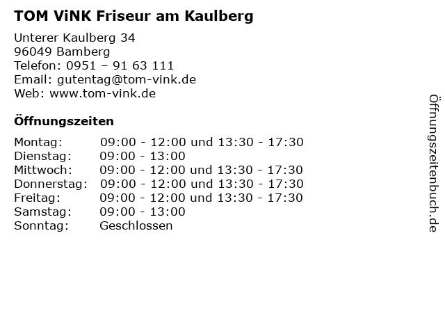 TOM ViNK Friseur am Kaulberg in Bamberg: Adresse und Öffnungszeiten