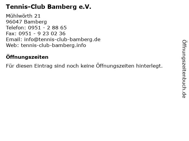 Tennis-Club Bamberg e.V. in Bamberg: Adresse und Öffnungszeiten