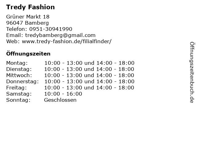 Tredy Fashion in Bamberg: Adresse und Öffnungszeiten
