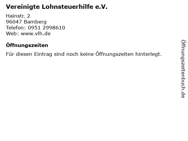 Vereinigte Lohnsteuerhilfe e.V. in Bamberg: Adresse und Öffnungszeiten