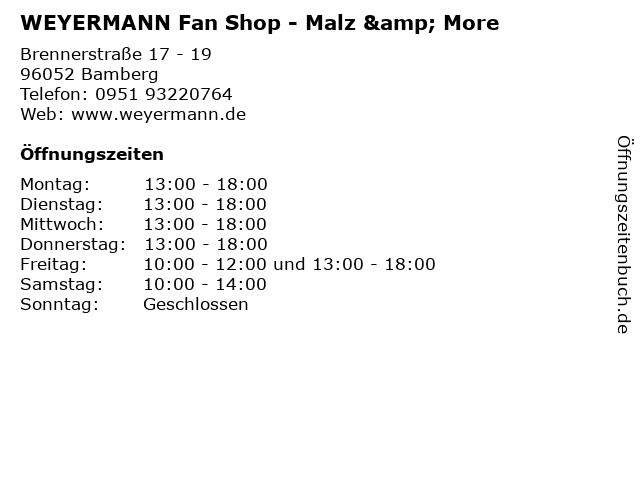 WEYERMANN Fan Shop - Malz & More in Bamberg: Adresse und Öffnungszeiten