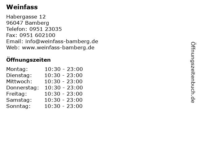 Weinfass in Bamberg: Adresse und Öffnungszeiten