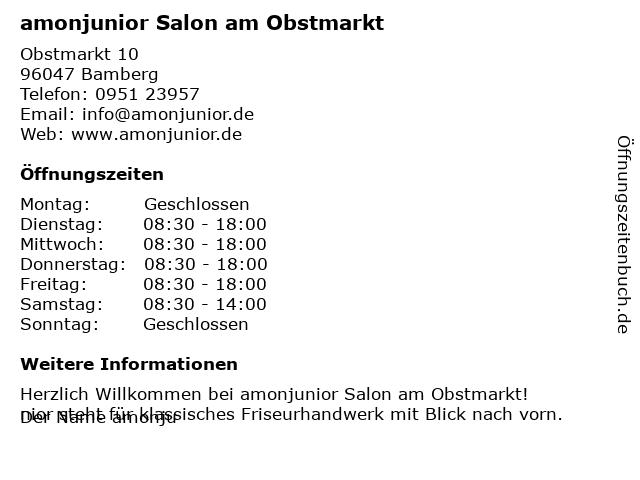 amonjunior - Friseursalon in Bamberg: Adresse und Öffnungszeiten