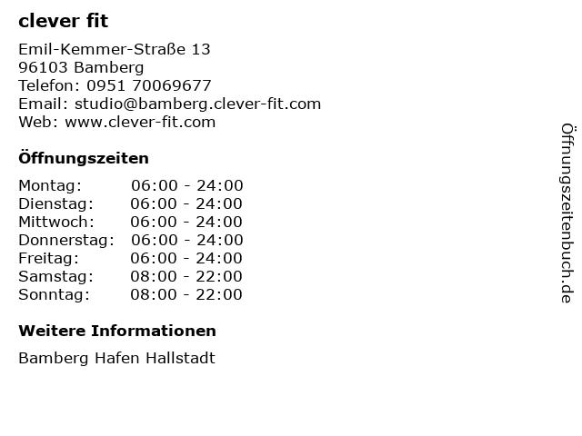 clever fit in Bamberg: Adresse und Öffnungszeiten