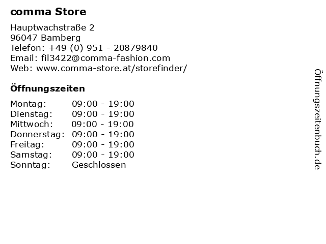 comma Store in Bamberg: Adresse und Öffnungszeiten