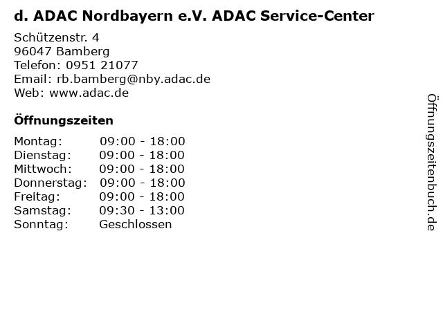 d. ADAC Nordbayern e.V. ADAC Service-Center in Bamberg: Adresse und Öffnungszeiten