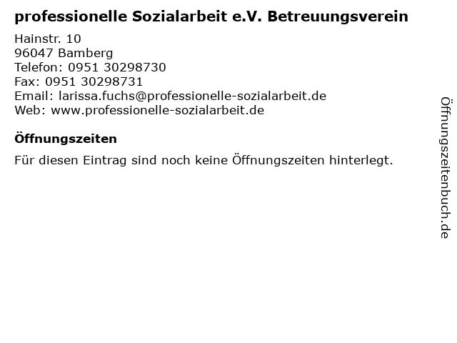 professionelle Sozialarbeit e.V. Betreuungsverein in Bamberg: Adresse und Öffnungszeiten