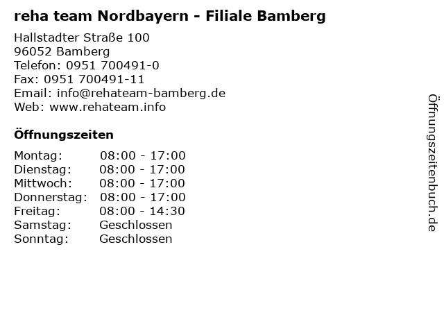 reha team Nordbayern - Filiale Bamberg in Bamberg: Adresse und Öffnungszeiten