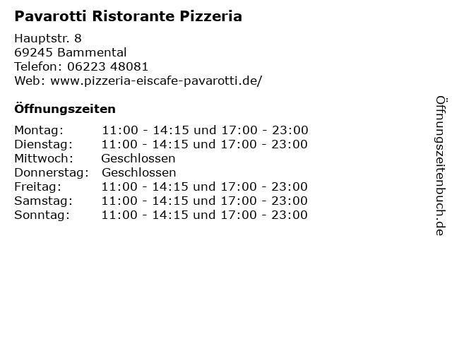 Pavarotti Ristorante Pizzeria in Bammental: Adresse und Öffnungszeiten