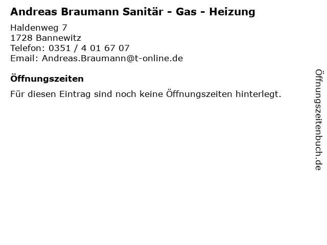Andreas Braumann Sanitär - Gas - Heizung in Bannewitz: Adresse und Öffnungszeiten
