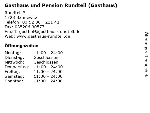Gasthaus und Pension Rundteil (Gasthaus) in Bannewitz: Adresse und Öffnungszeiten