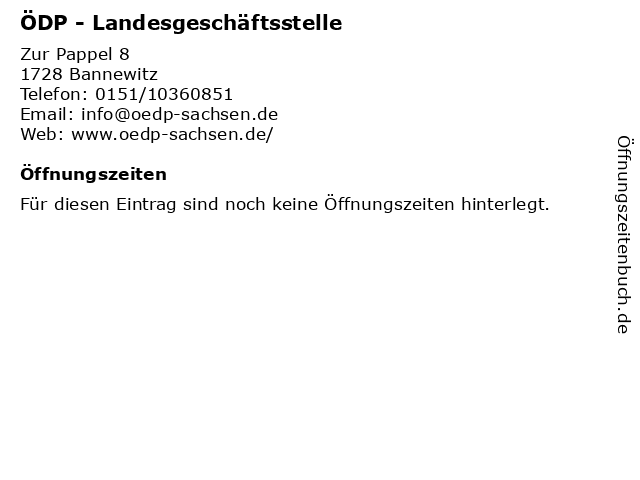 ÖDP - Landesgeschäftsstelle in Bannewitz: Adresse und Öffnungszeiten