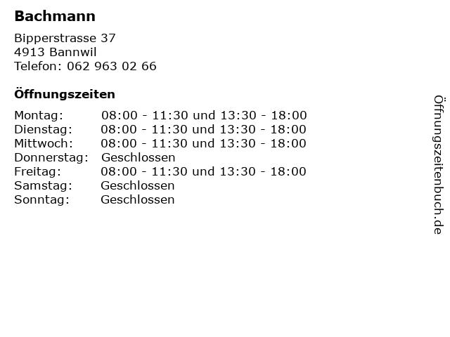 Bachmann in Bannwil: Adresse und Öffnungszeiten