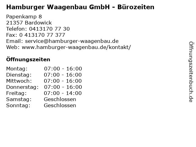 Hamburger Waagenbau GmbH - Bürozeiten in Bardowick: Adresse und Öffnungszeiten