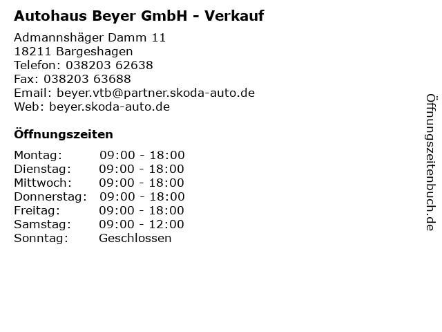 Autohaus Beyer GmbH - Verkauf in Bargeshagen: Adresse und Öffnungszeiten