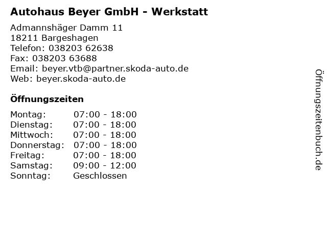 Autohaus Beyer GmbH - Werkstatt in Bargeshagen: Adresse und Öffnungszeiten