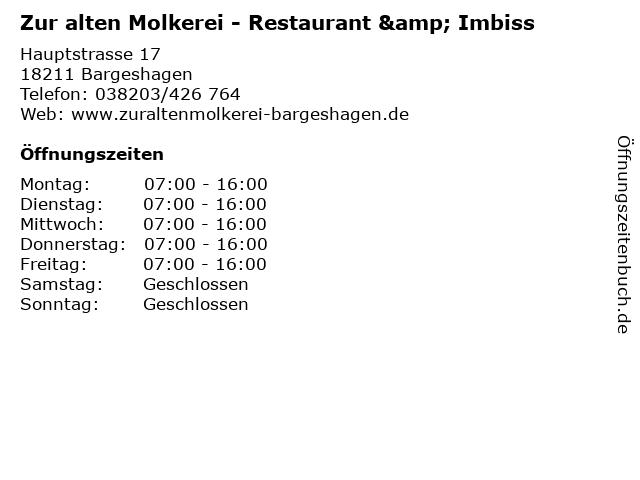 Gaststätte Zur Alten Molkerei in Bargeshagen: Adresse und Öffnungszeiten