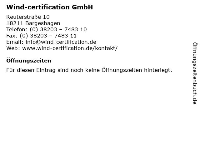 Wind-certification GmbH in Bargeshagen: Adresse und Öffnungszeiten