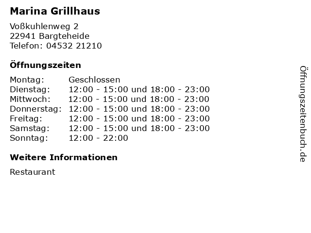 Marina Grillhaus in Bargteheide: Adresse und Öffnungszeiten