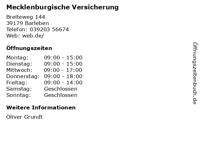 Mecklenburgische Versicherung in Barleben: Adresse und Öffnungszeiten
