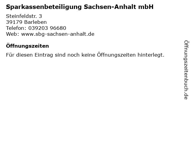 Sparkassenbeteiligung Sachsen-Anhalt mbH in Barleben: Adresse und Öffnungszeiten