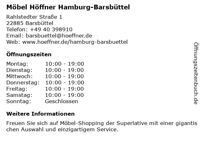 ᐅ öffnungszeiten Möbel Höffner Rahlstedter Straße 1 In Barsbüttel