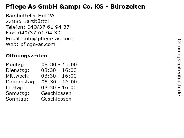 Pflege As GmbH & Co. KG - Bürozeiten in Barsbüttel: Adresse und Öffnungszeiten