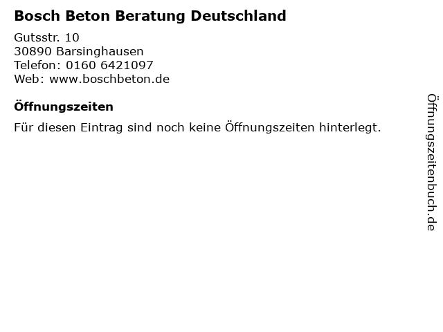 Bosch Beton Beratung Deutschland in Barsinghausen: Adresse und Öffnungszeiten