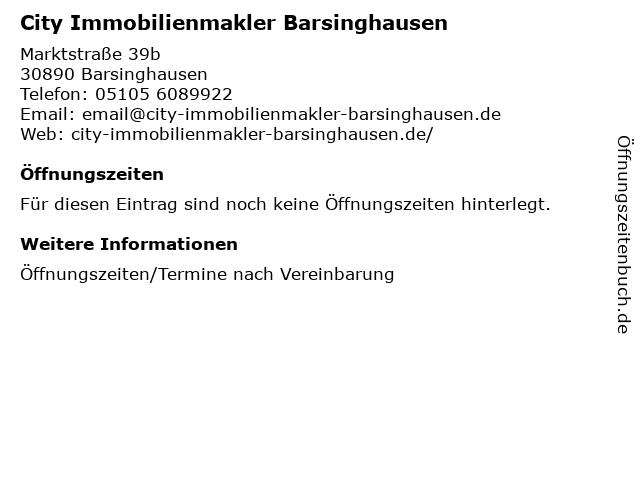 City Immobilienmakler Barsinghausen in Barsinghausen: Adresse und Öffnungszeiten