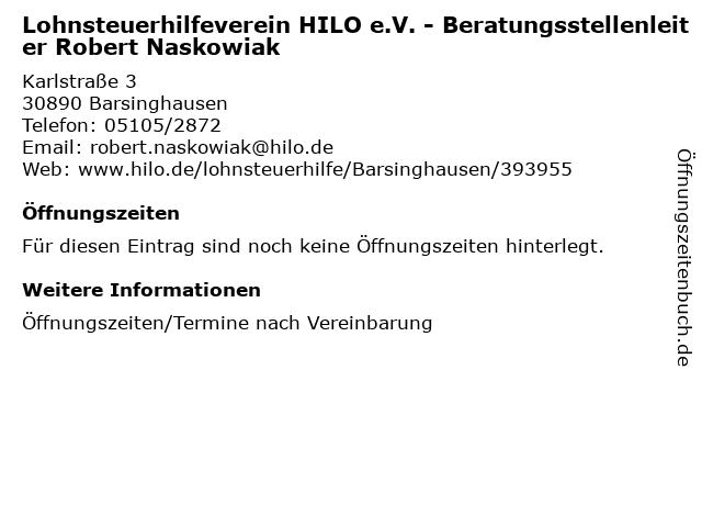 Lohnsteuerhilfeverein HILO e.V. - Beratungsstellenleiter Robert Naskowiak in Barsinghausen: Adresse und Öffnungszeiten