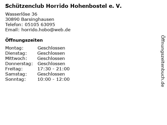 Schützenclub Horrido Hohenbostel e. V. in Barsinghausen: Adresse und Öffnungszeiten