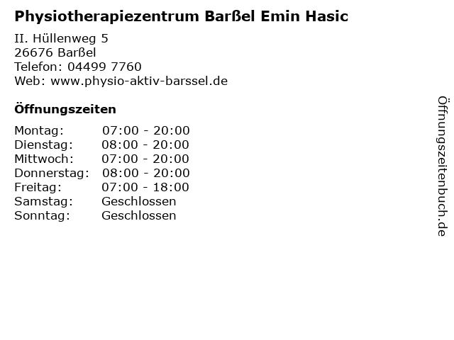 Physiotherapiezentrum Barßel Emin Hasic in Barßel: Adresse und Öffnungszeiten