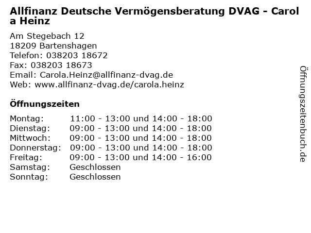 Allfinanz Deutsche Vermögensberatung DVAG - Carola Heinz in Bartenshagen: Adresse und Öffnungszeiten
