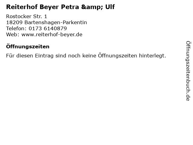 Reiterhof Beyer Petra & Ulf in Bartenshagen-Parkentin: Adresse und Öffnungszeiten