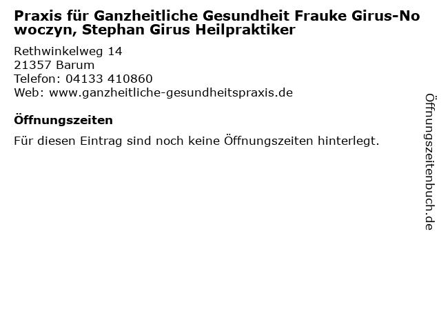 Praxis für Ganzheitliche Gesundheit Frauke Girus-Nowoczyn, Stephan Girus Heilpraktiker in Barum: Adresse und Öffnungszeiten