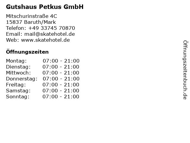 Gutshaus Petkus GmbH in Baruth/Mark: Adresse und Öffnungszeiten