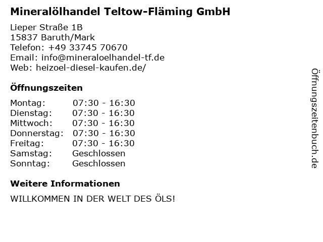 Mineralölhandel Teltow-Fläming GmbH in Baruth/Mark: Adresse und Öffnungszeiten