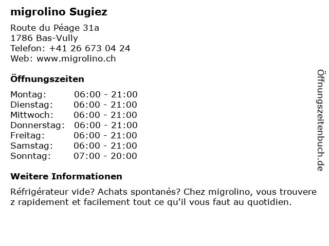 migrolino Shop in Bas-Vully: Adresse und Öffnungszeiten