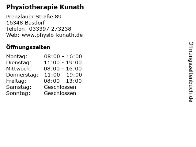 Physiotherapie Kunath in Basdorf: Adresse und Öffnungszeiten