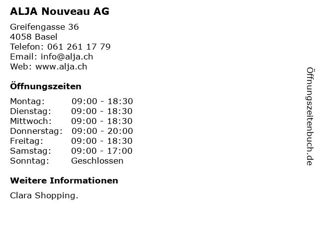 ALJA Nouveau AG in Basel: Adresse und Öffnungszeiten