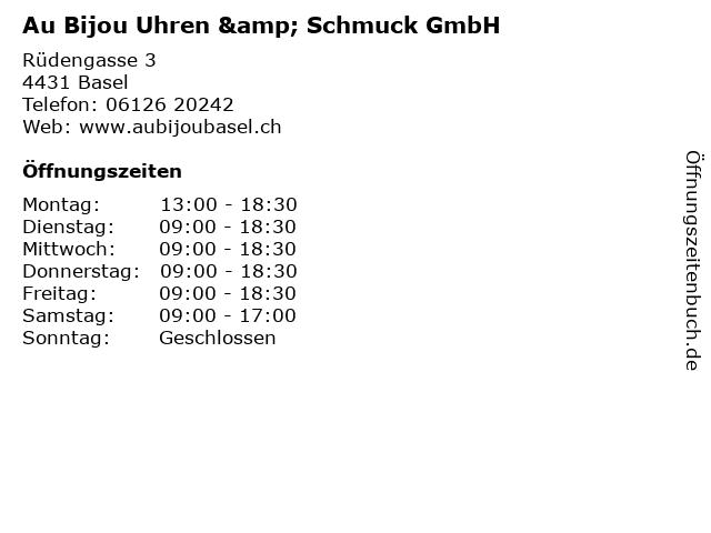 Au Bijou Uhren & Schmuck GmbH in Basel: Adresse und Öffnungszeiten