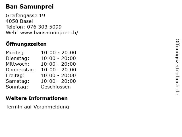 Ban Samunprei in Basel: Adresse und Öffnungszeiten