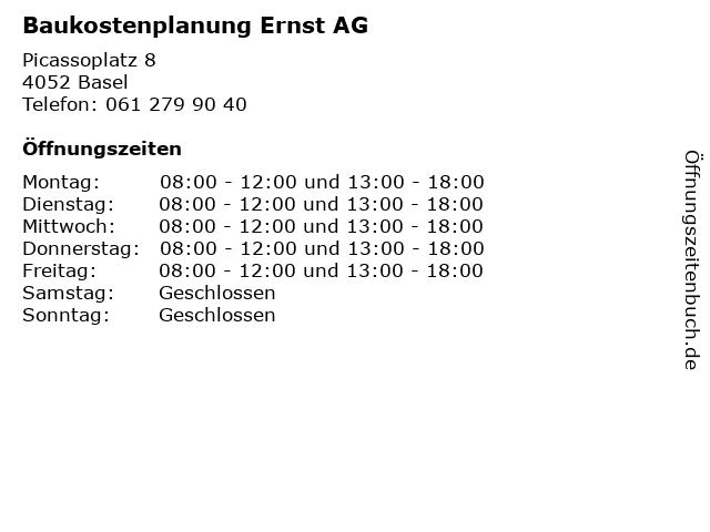 Baukostenplanung Ernst AG in Basel: Adresse und Öffnungszeiten