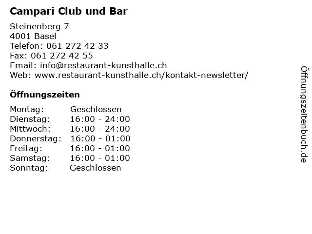 Campari Club und Bar in Basel: Adresse und Öffnungszeiten